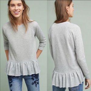 Anthropologie Ruffle Hem Sweatshirt Size Small